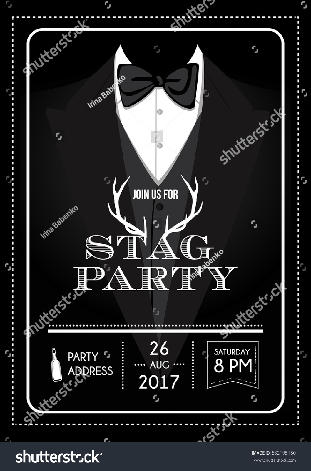 Stag Party Invitation Calligraphy Card Lettering Vector – Stag Party Invitation