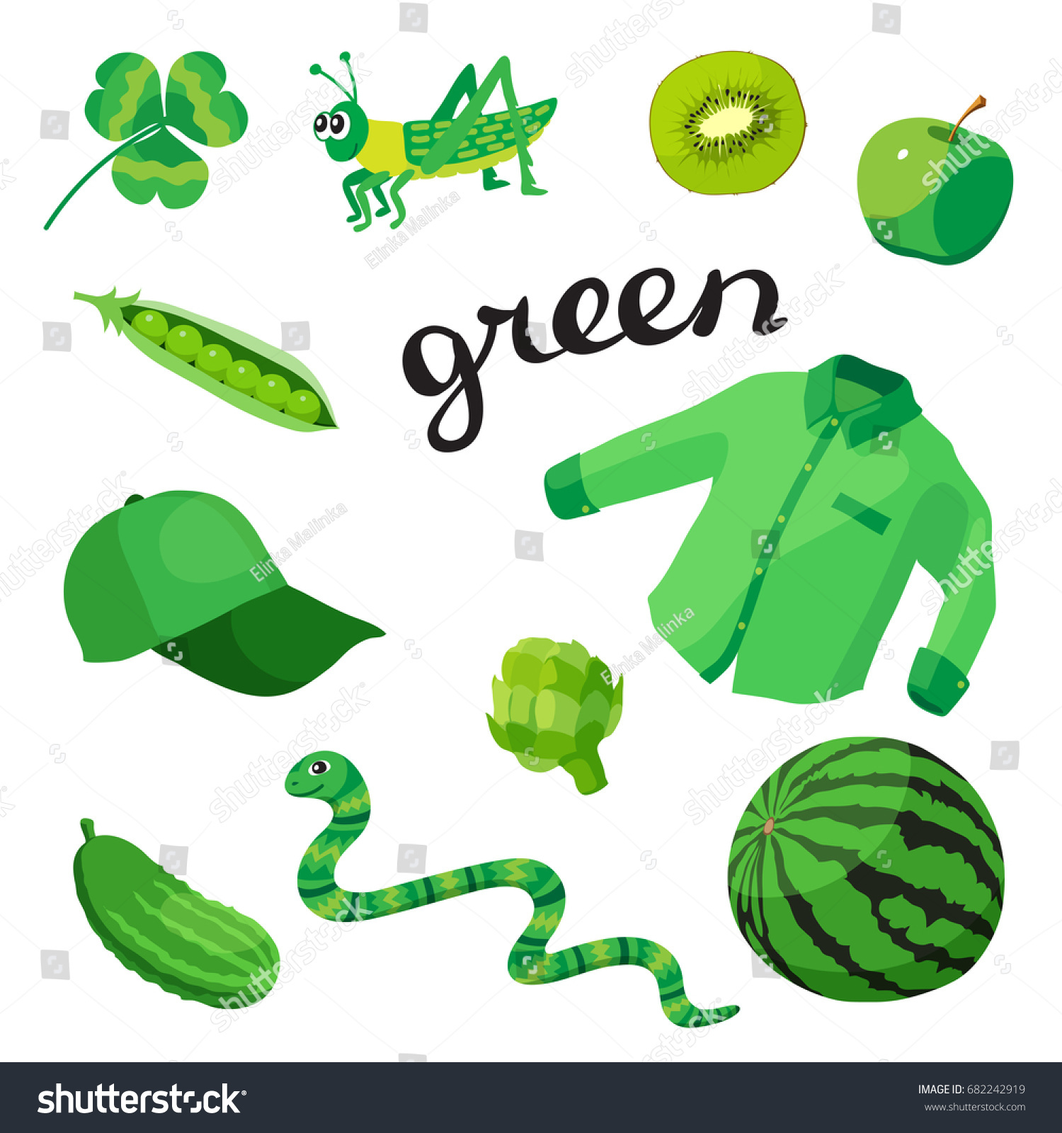 Green Learn Color Education Set Illustration Stock Vector 682242919 ...