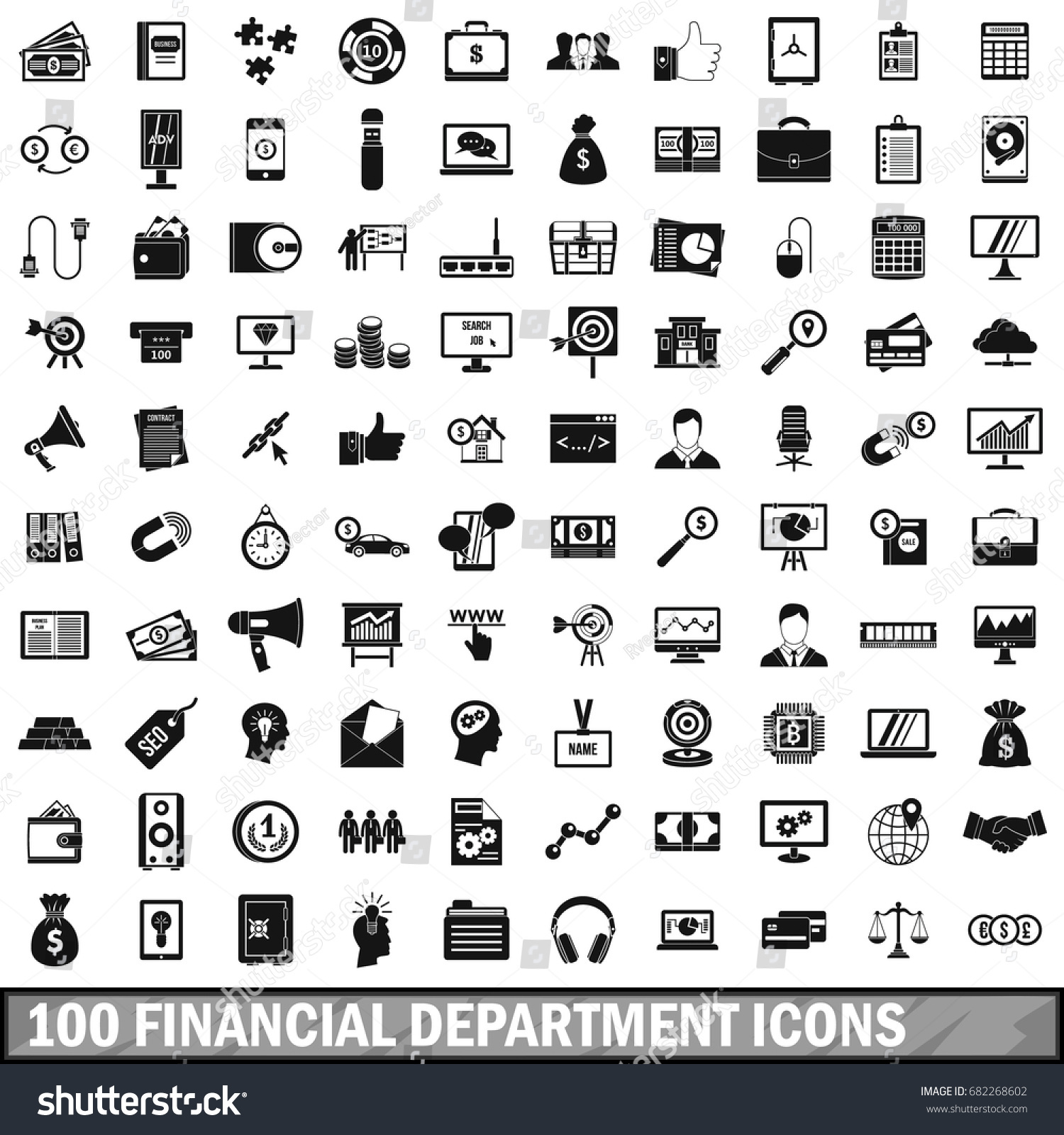 Finance Department: 100 Financial Department Icons Set Simple Stock Vector