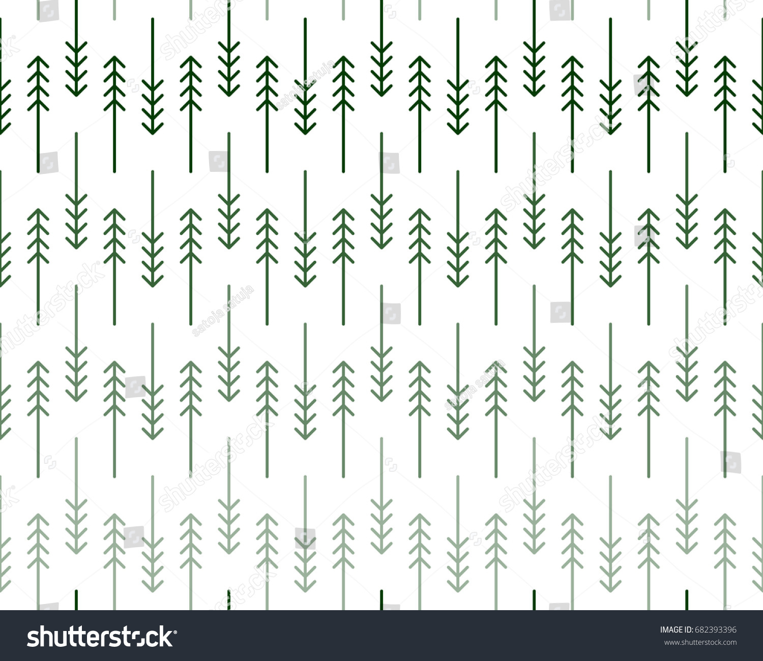 Seamless fir tree scandinavian pattern textile background wrapping - Scandinavian Geometric Pattern With Stylized Linear Fir And Pine Trees In Shades Of Green On White