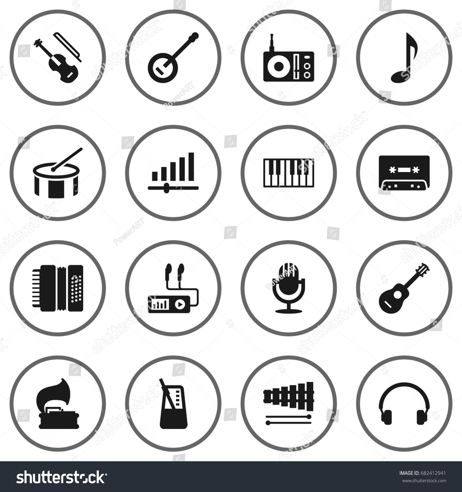 Set 16 song icons setcollection knob stock vector 682412941 set of 16 song icons setllection of knob banjo tone symbol and buycottarizona