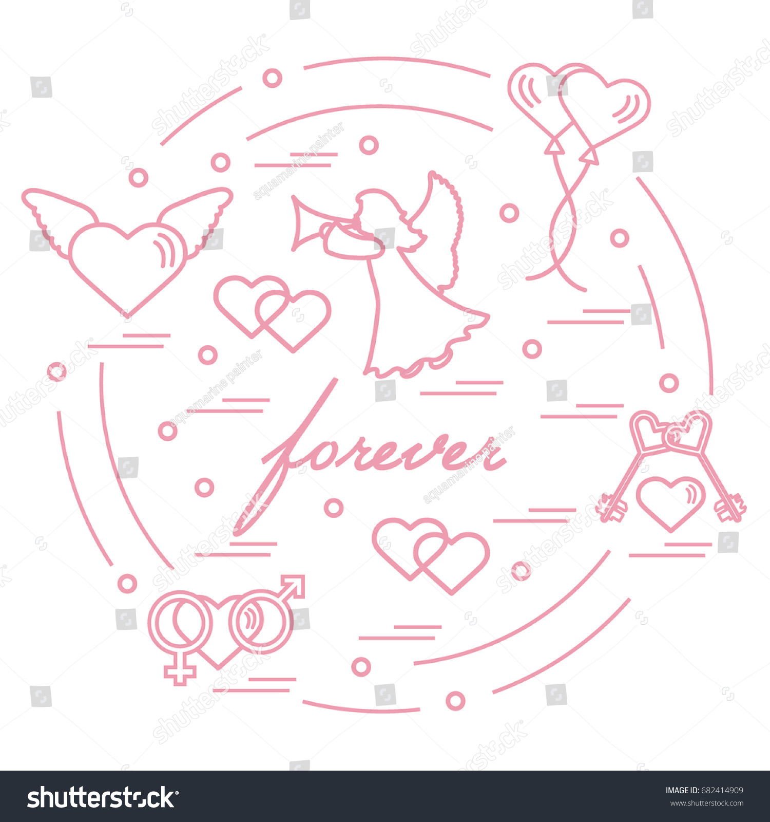 Cute vector illustration different love symbols stock vector cute vector illustration with different love symbols hearts air balloons key angel buycottarizona Images
