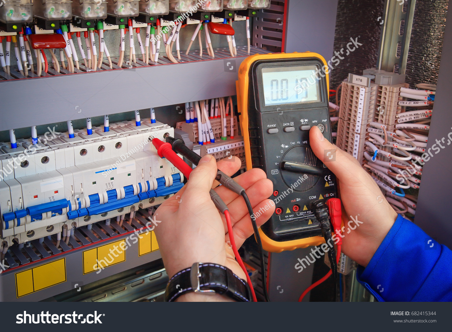 Industrial Control Wiring Guide Electrician Electrical Color Code Multimeter Hands On Background Stock Photo Rh Shutterstock Com Home Diagrams System