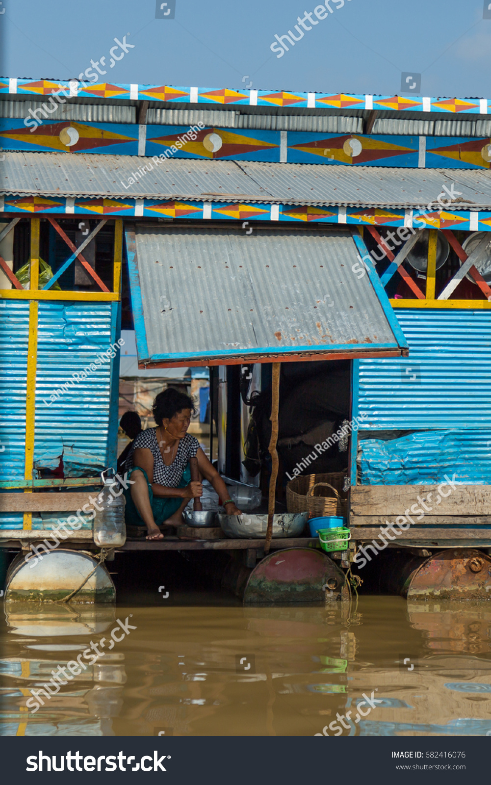 Cambodian Lady Preparing Food Kitchen Floating Stock Photo 682416076 ...