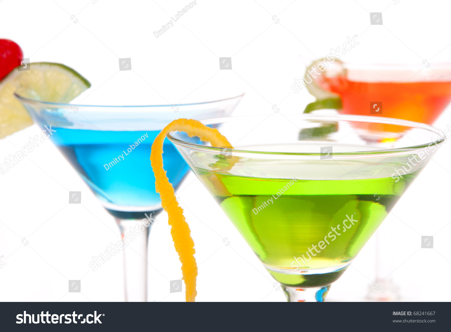 Tropical citrus martini cocktails vodka light stock photo for Light cocktails with vodka