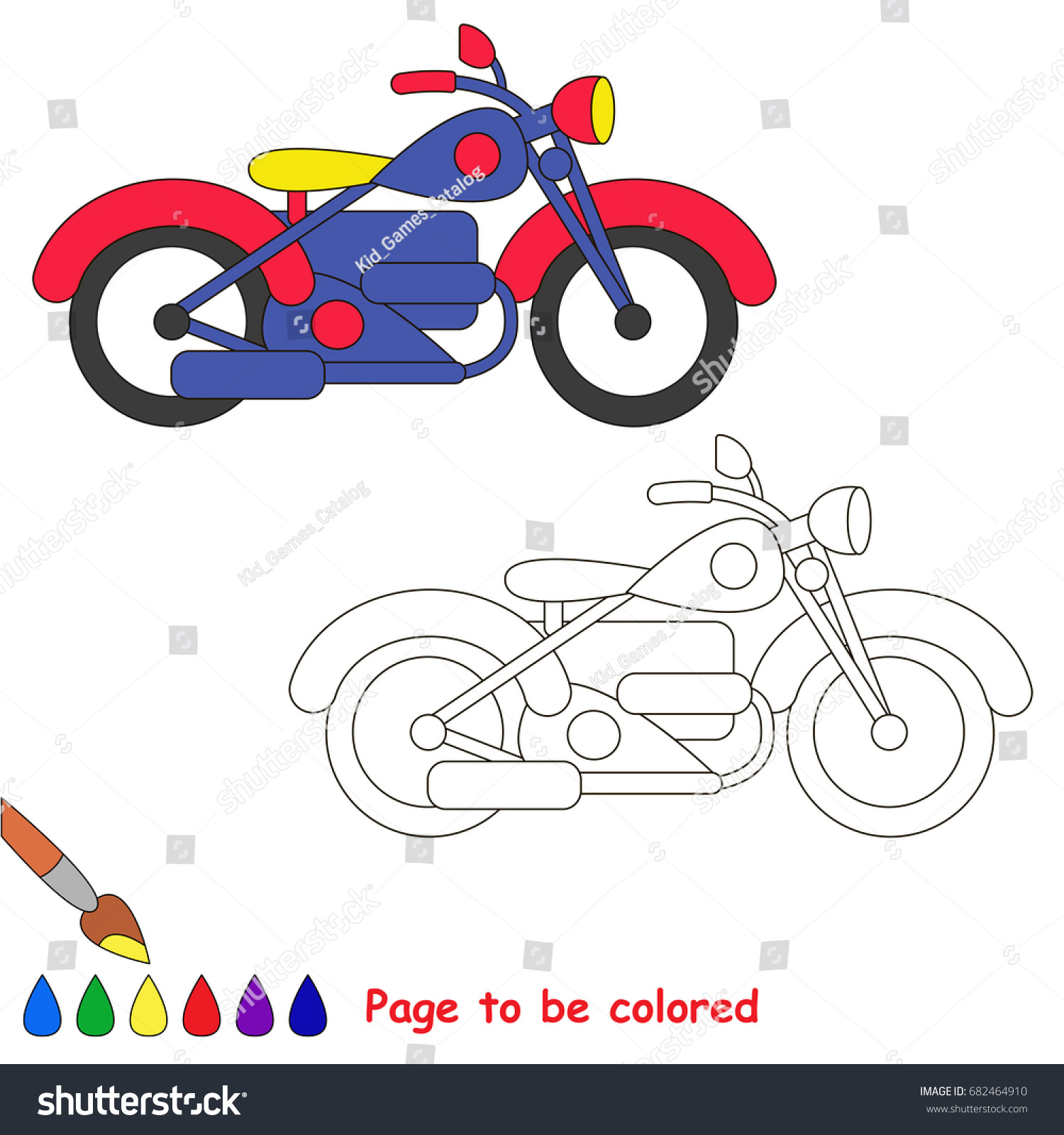 Coloring Vehicle For Children Transportation Illustration Kids Bicycle Vector