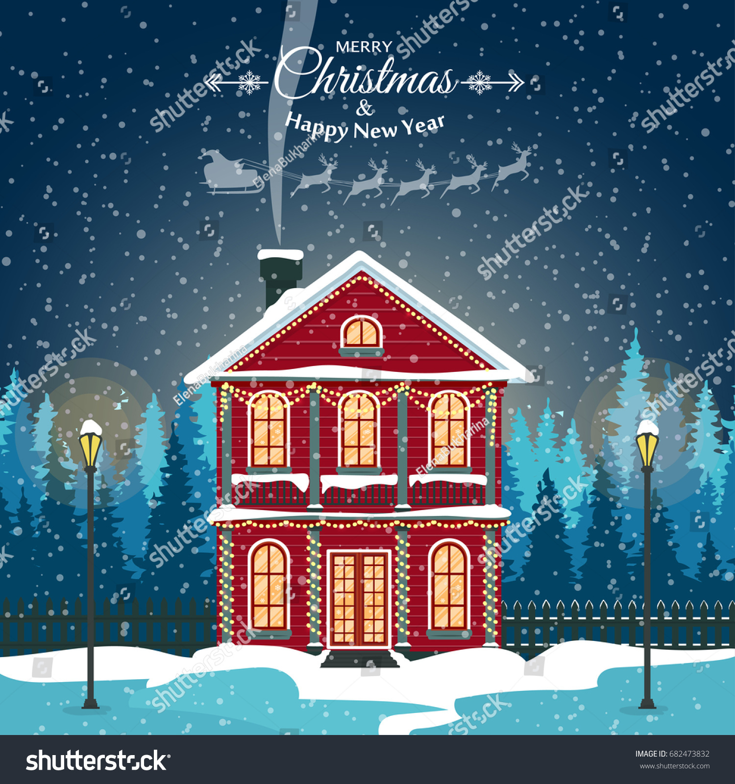 merry christmas card with house vector illustration happy new year