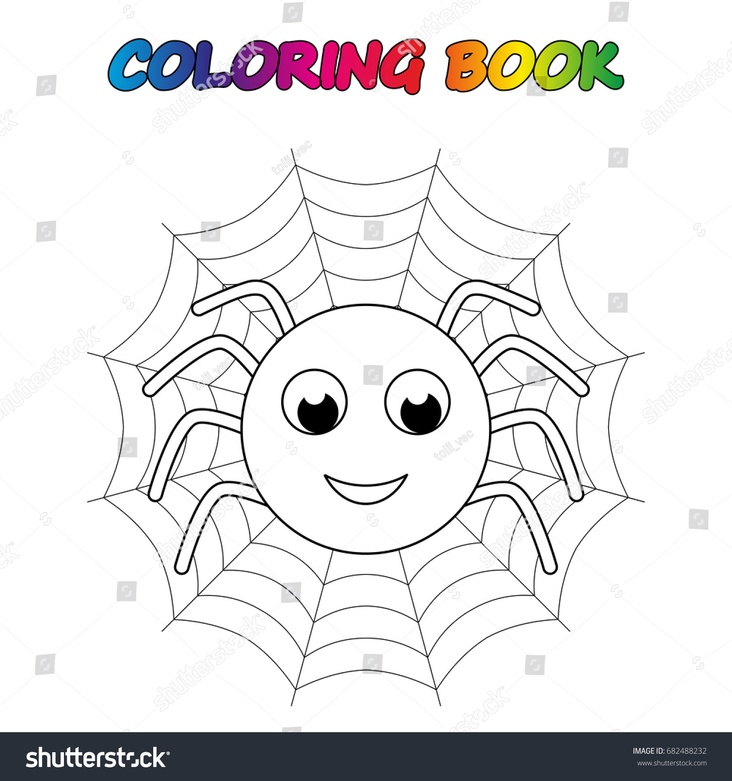 Spider Coloring Book Page Educate Stock Vector 682488232