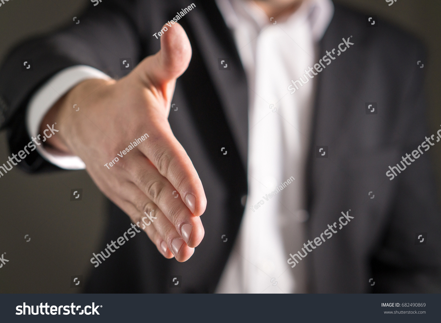 Business Man Offer And Give Hand For Handshake Salesman Or Real
