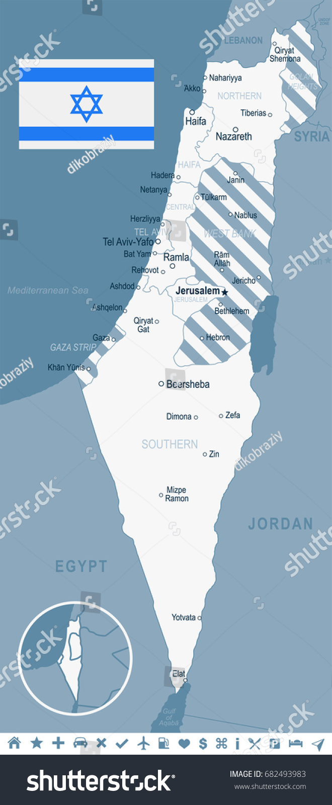 Israel map flag vector illustration stock vector 2018 682493983 israel map and flag vector illustration gumiabroncs Choice Image