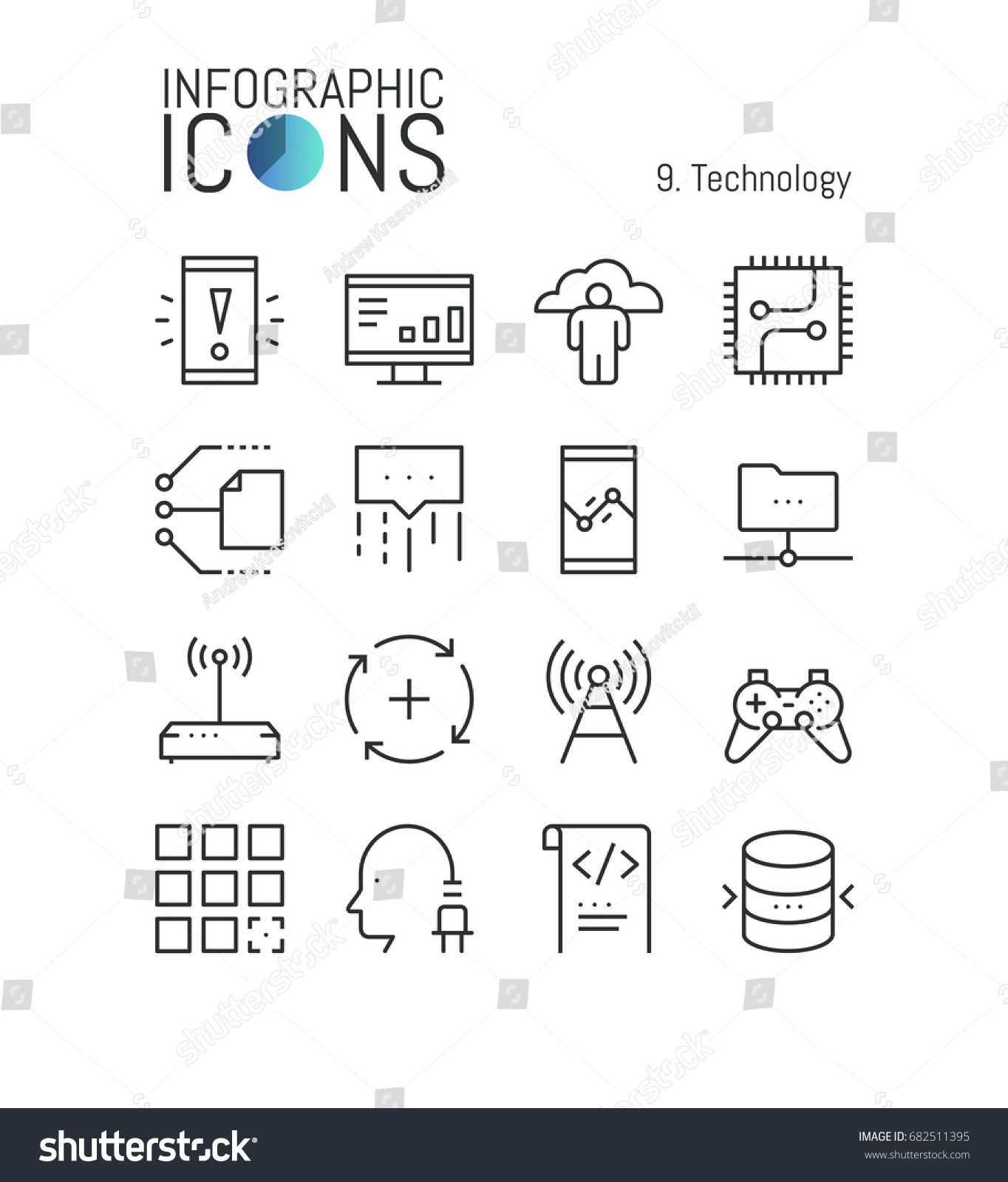 Bundle Modern Thin Line Technology Icons Stock Vector Royalty Free Integrated Circuits Used As Background Photos Of Central Processing Units Electronic