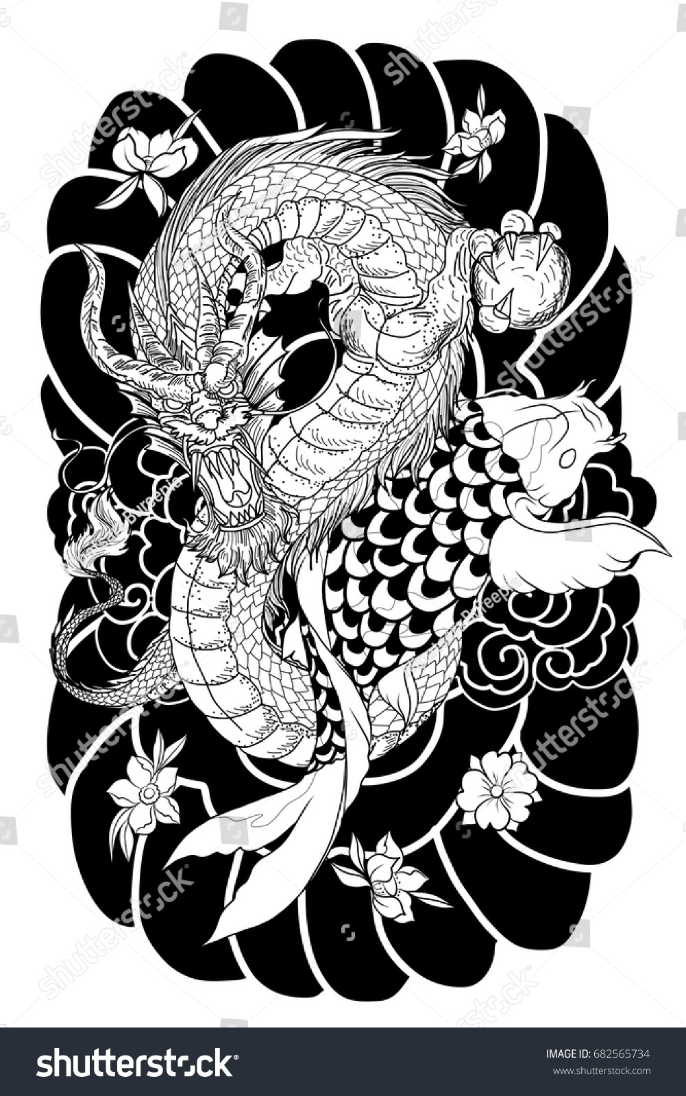hand drawn dragon koi fish flower stock vector 682565734 shutterstock. Black Bedroom Furniture Sets. Home Design Ideas