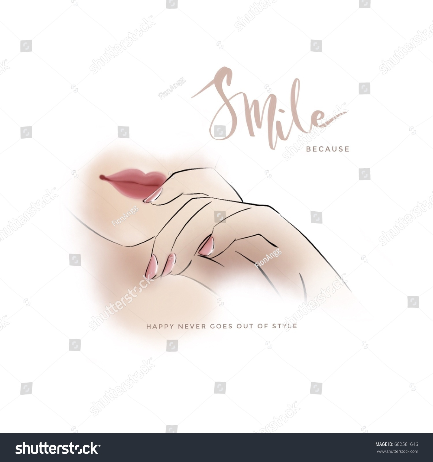 Smile Quotes Rosey Lips Nails Stock Illustration 682581646