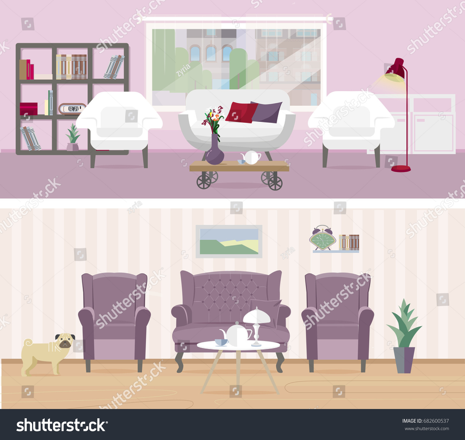 Cute Rooms Set Cozy Classic Modern Stock Vector Royalty