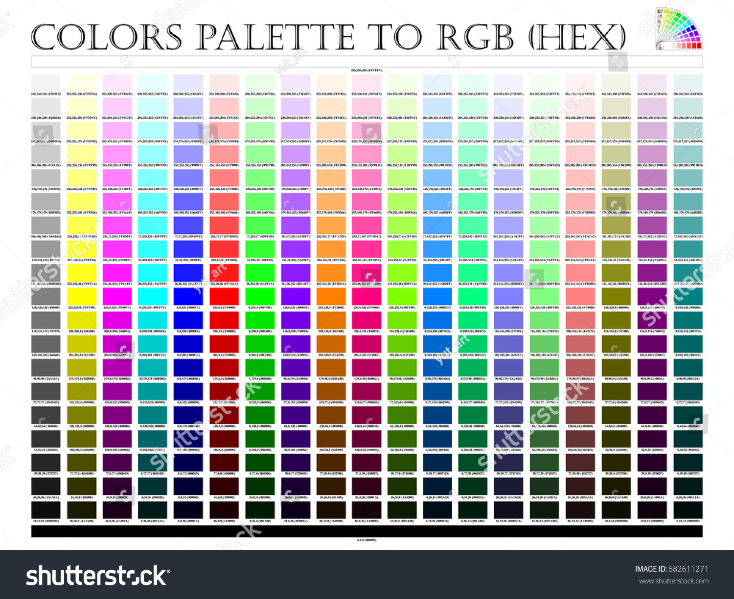 Color palette composition shade chart conform stock vector color palette composition shade chart conform to pantone rgb and hex description guide on white background nvjuhfo Images