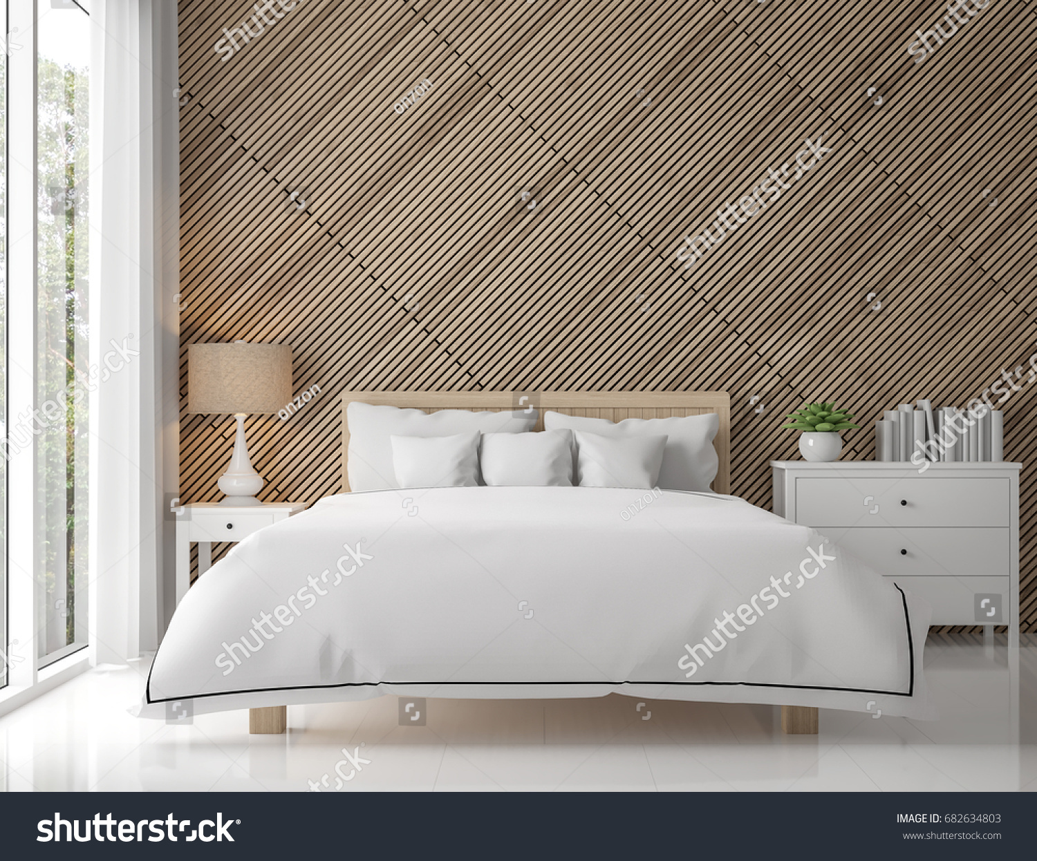 modern contemporary bedroom interior with wood lattice 3d rendering imagethere are white floor decorate - White Floor Bedroom