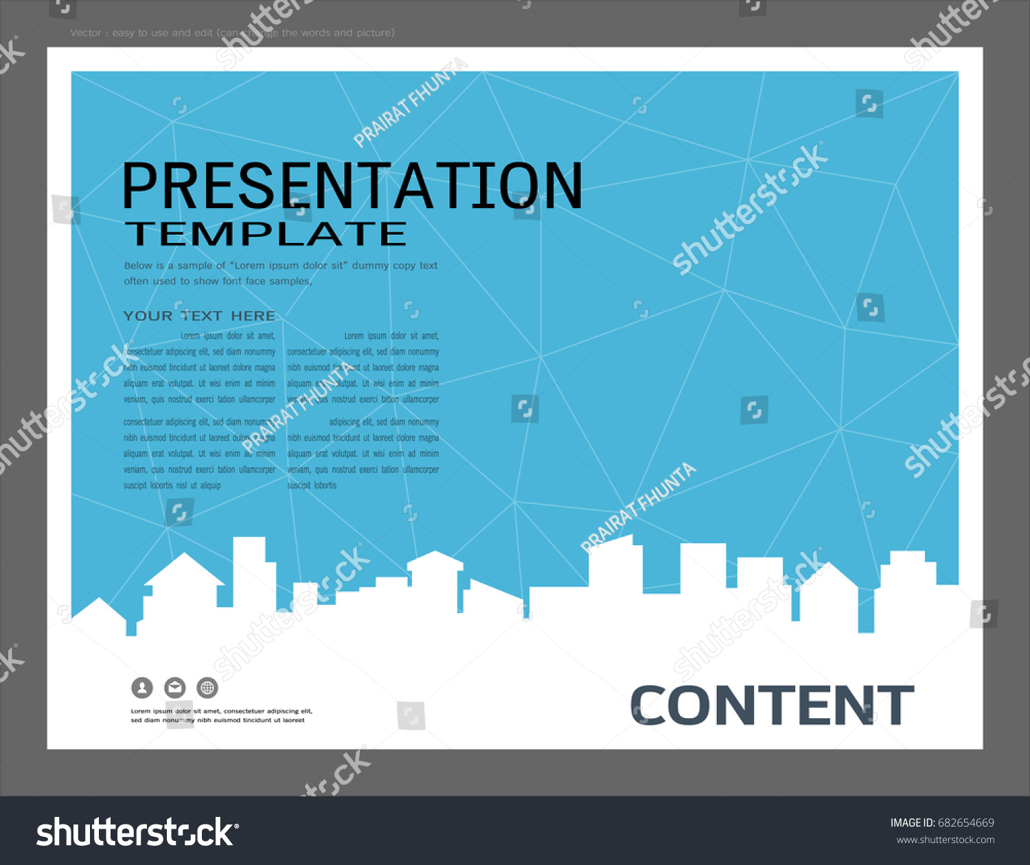 presentation design template city buildings real stock vector, Powerpoint templates