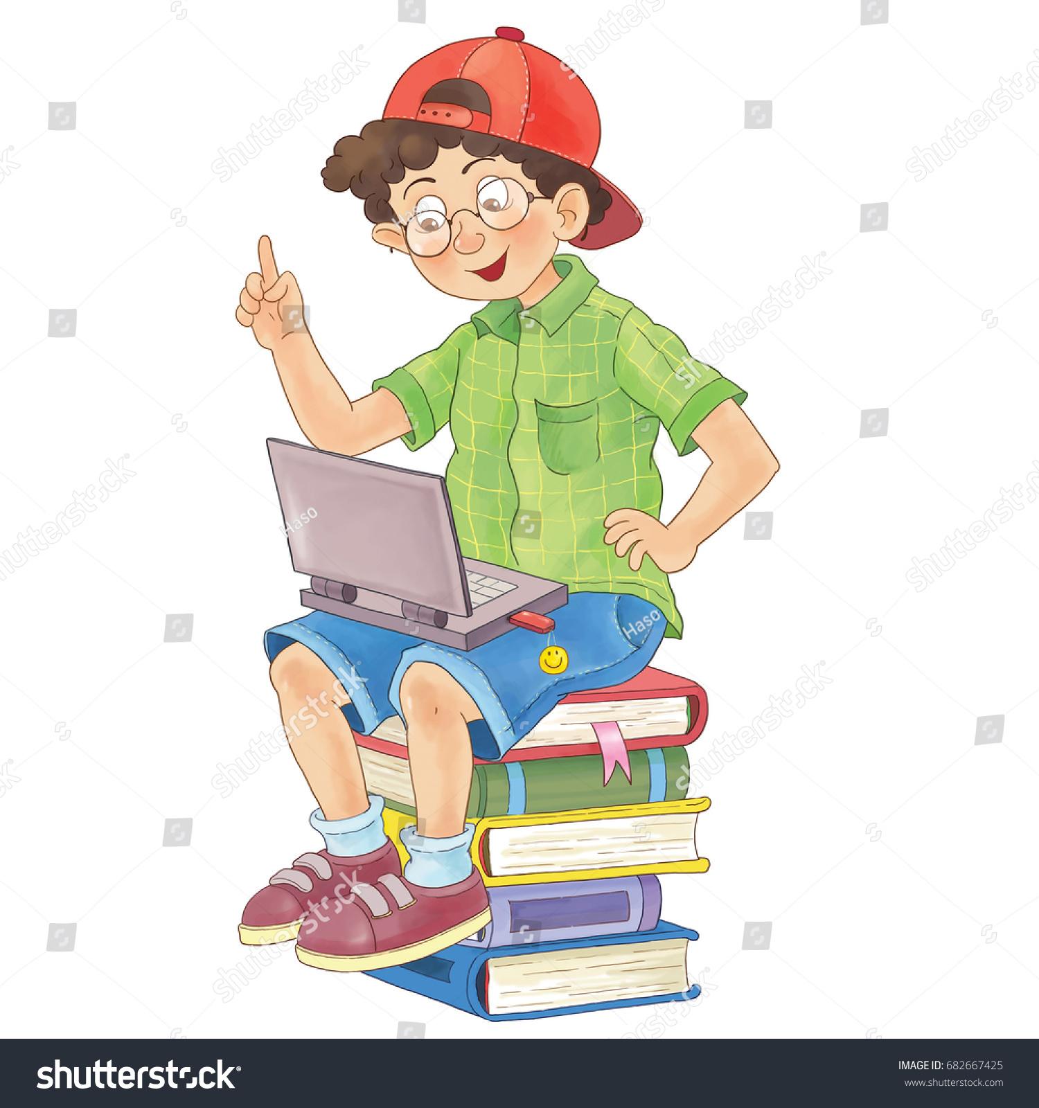 Back School Cute Boy Laptop Illustration Stock Illustration ...