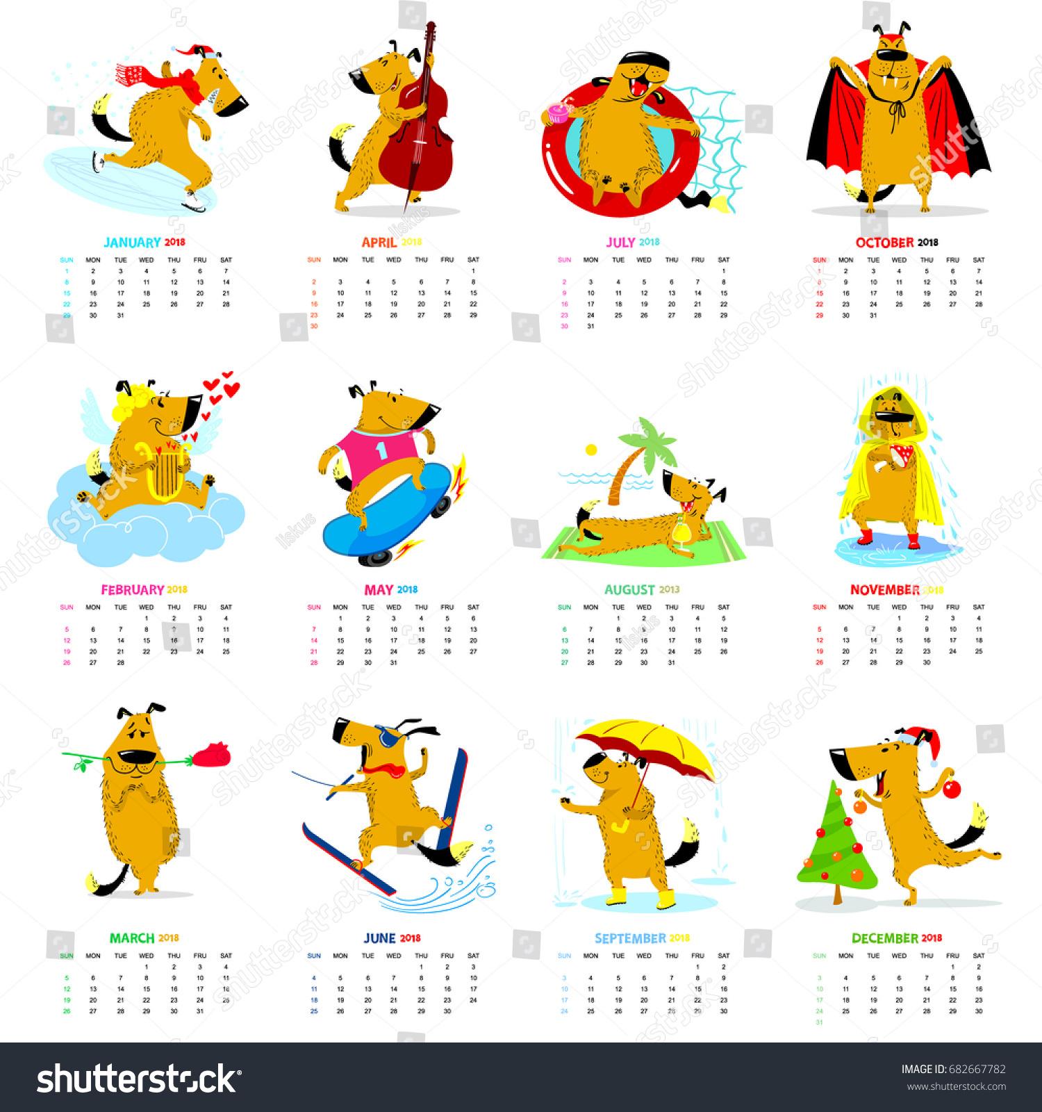 Wallpaper Editorial Calendar : Monthly calendar cute dogs winter stock vector
