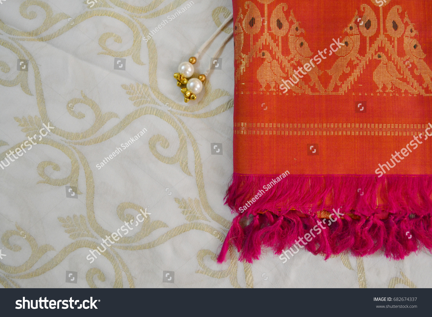 Traditional Indian Background Vintage Saree Pearl Stock Photo (Edit ...