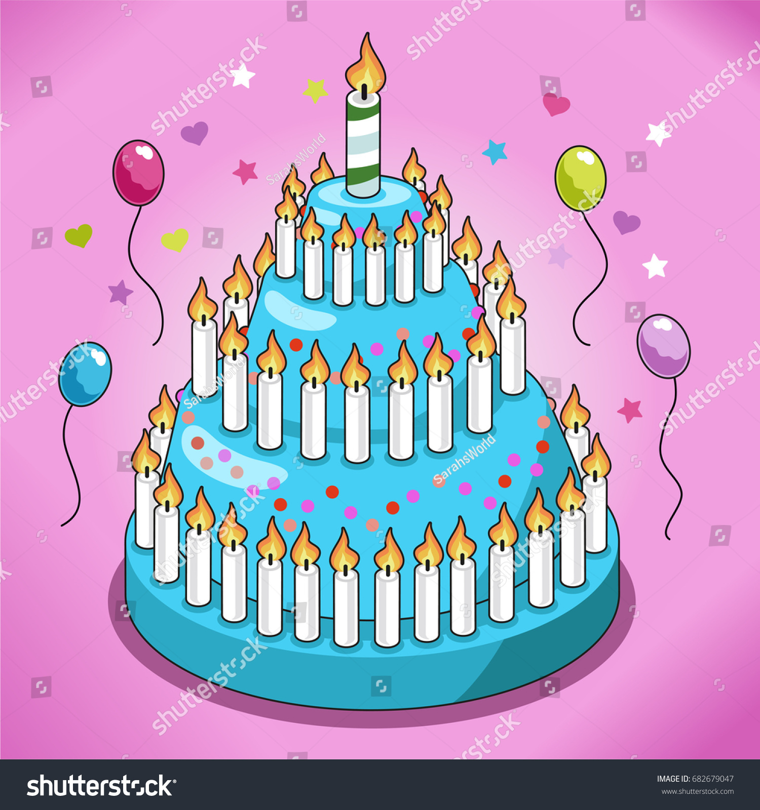 Pleasant Huge Birthday Cake Turquoise Icing Candy Stock Vector Royalty Funny Birthday Cards Online Alyptdamsfinfo
