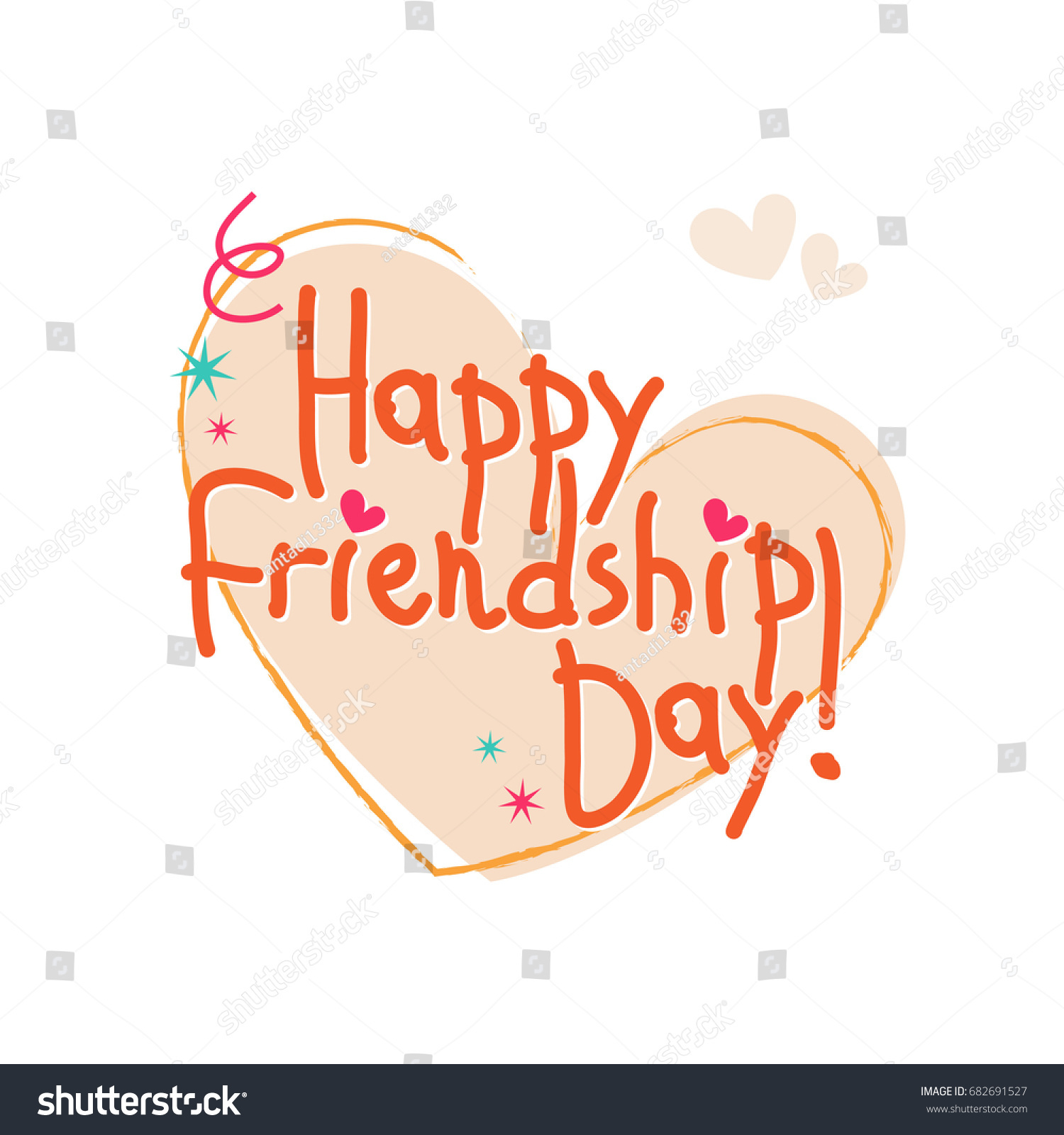 Happy Friendship Day Greeting Card Calligraphy Stock Vector Royalty