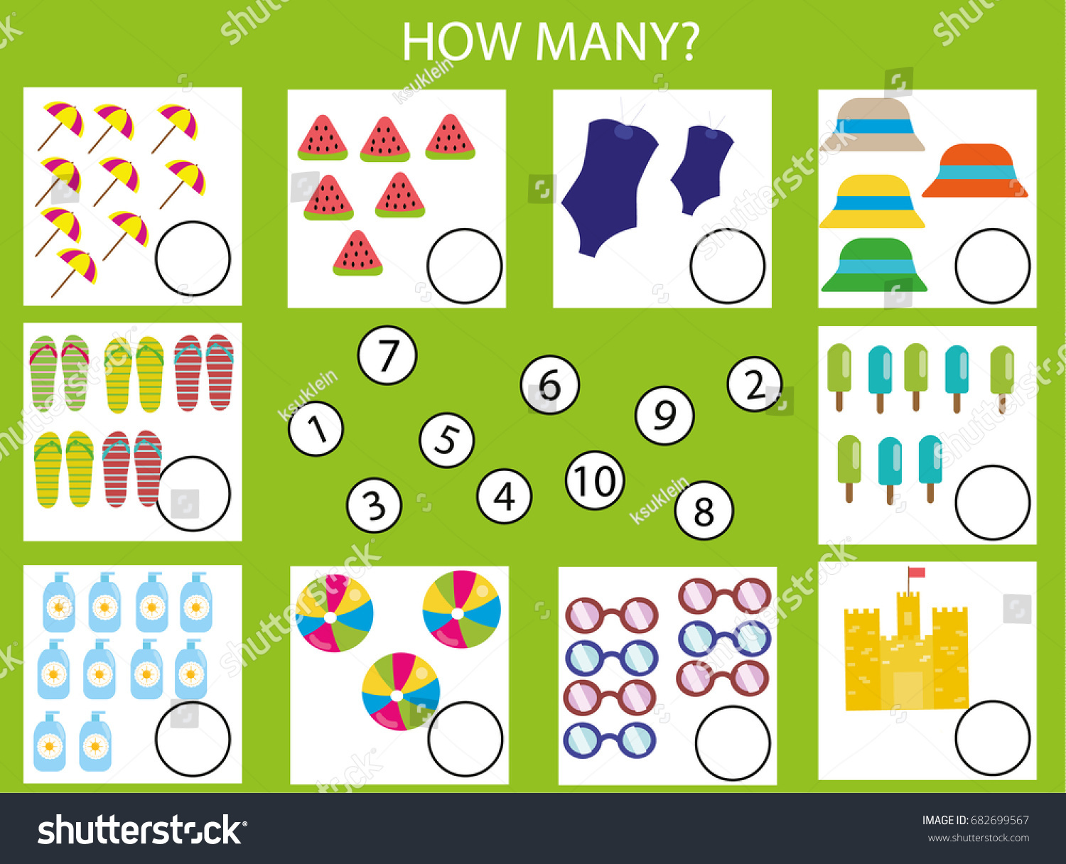 Counting Educational Children Game Kids Activity Stock Vector ...