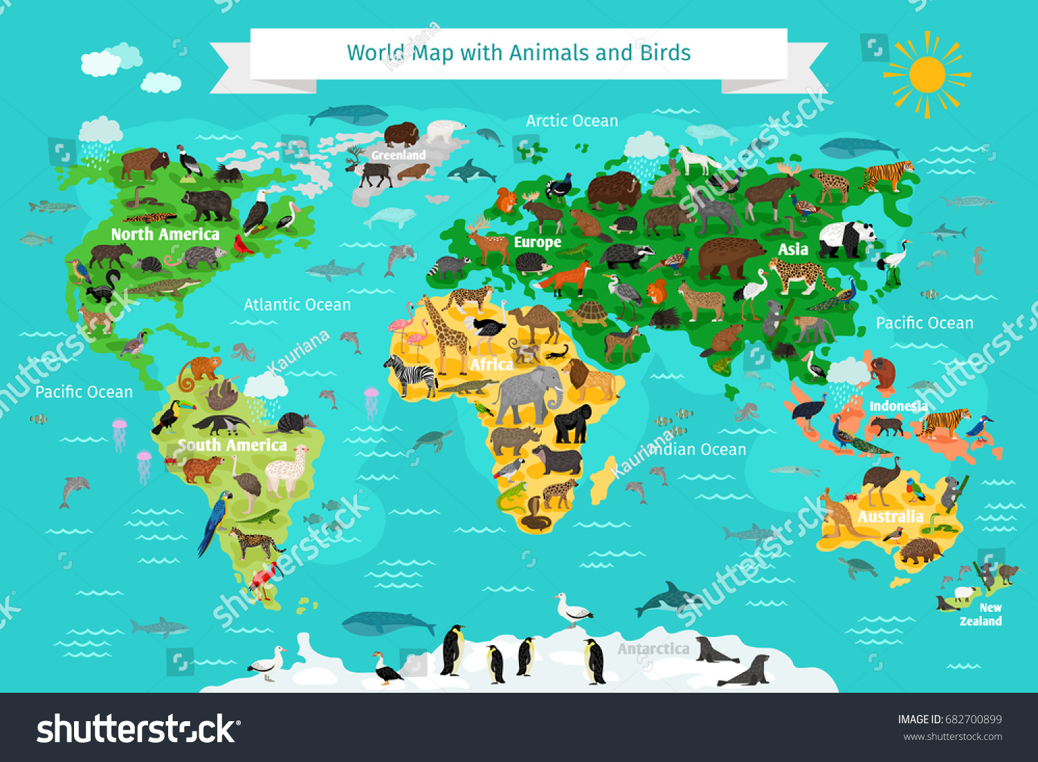 World map animals birds vectores en stock 682700899 shutterstock gumiabroncs Choice Image