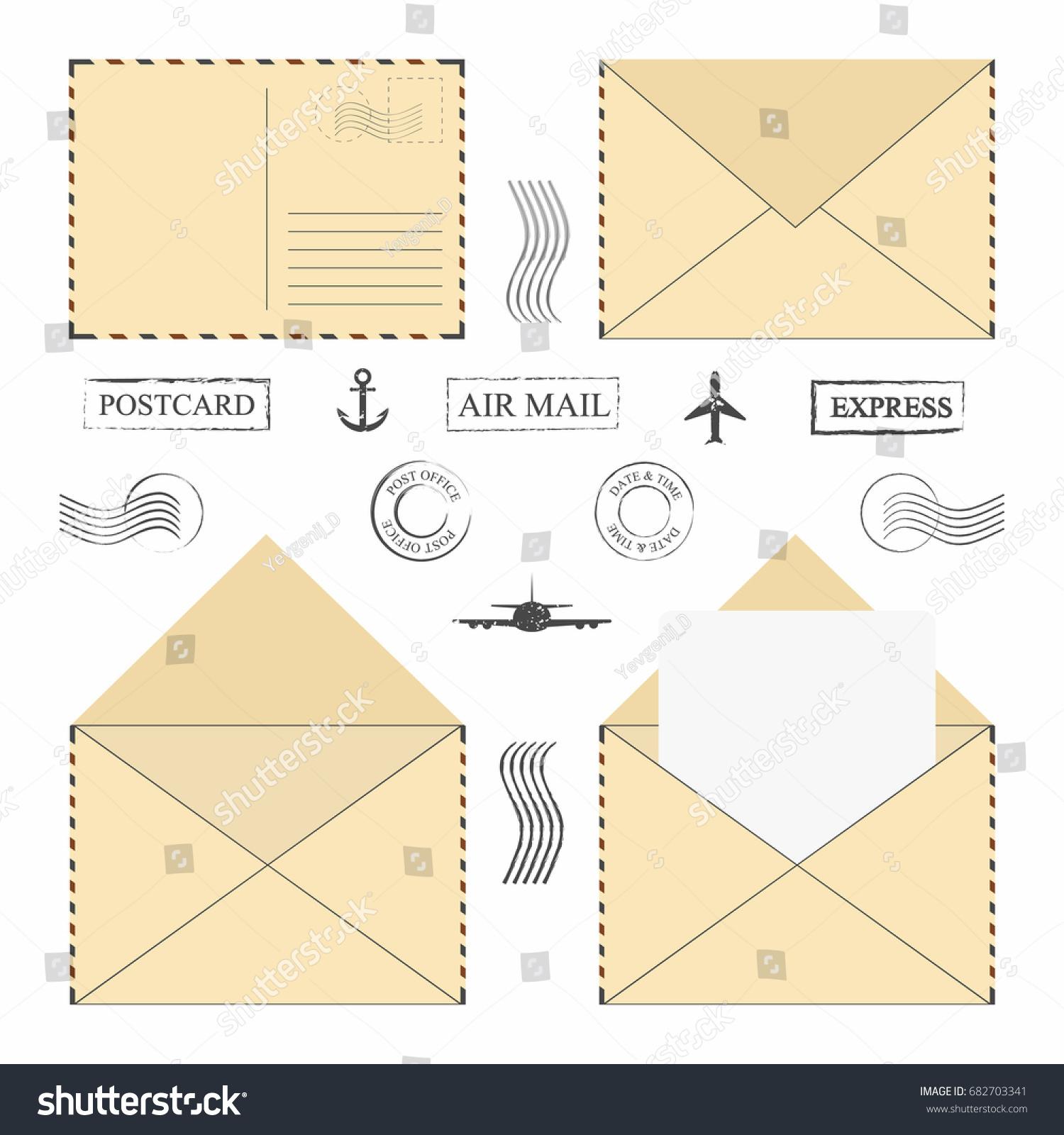Mail Envelope Set Vintage Mail Envelopes Stock Vector