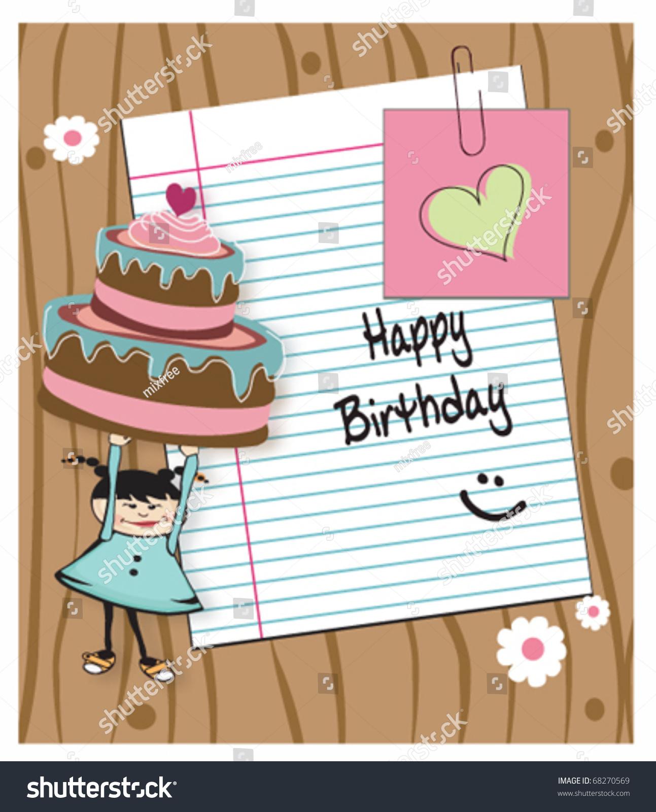 Birthday Card Girl Holding Cake Blank Stock Vector