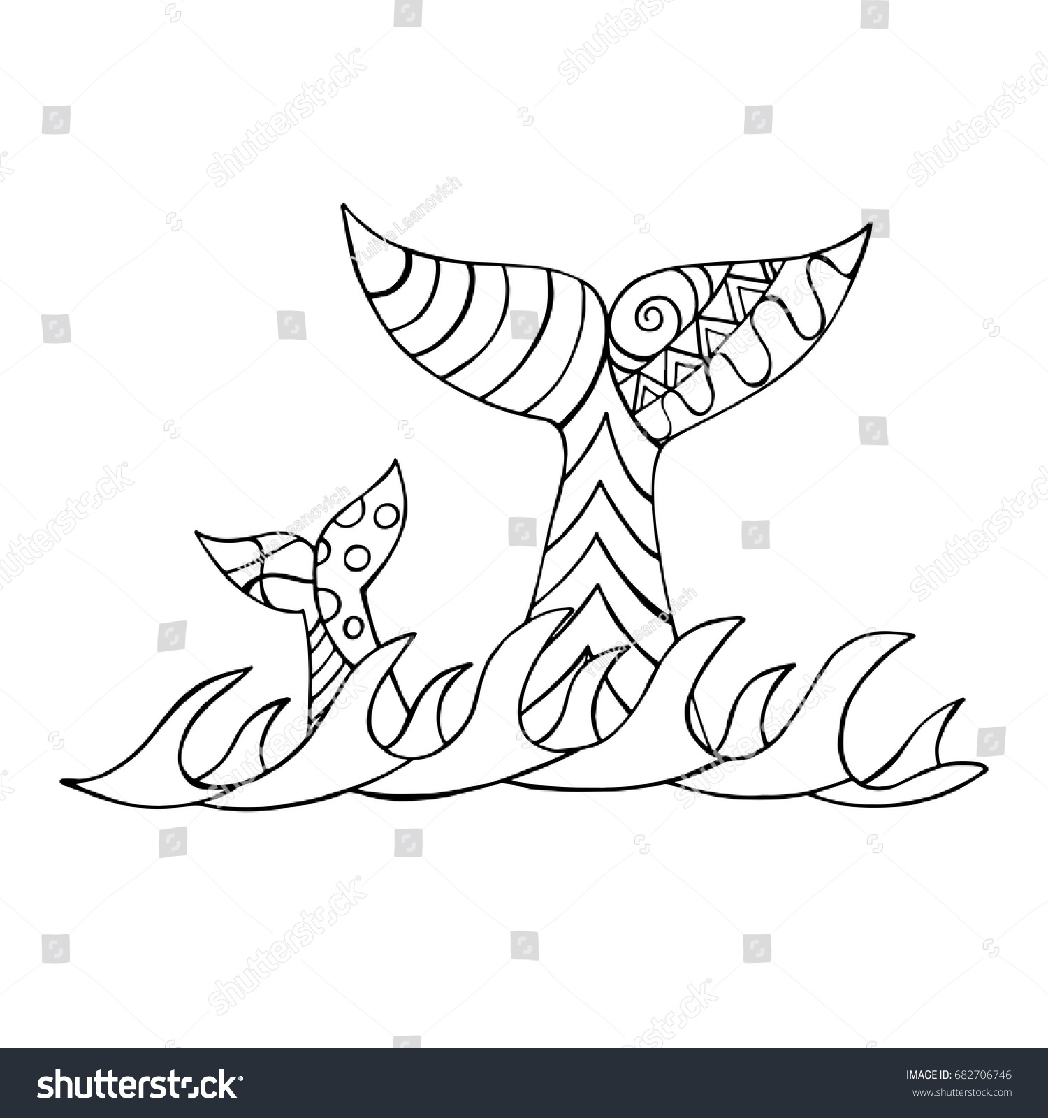 whale tails abstract patterns childrens book stock vector