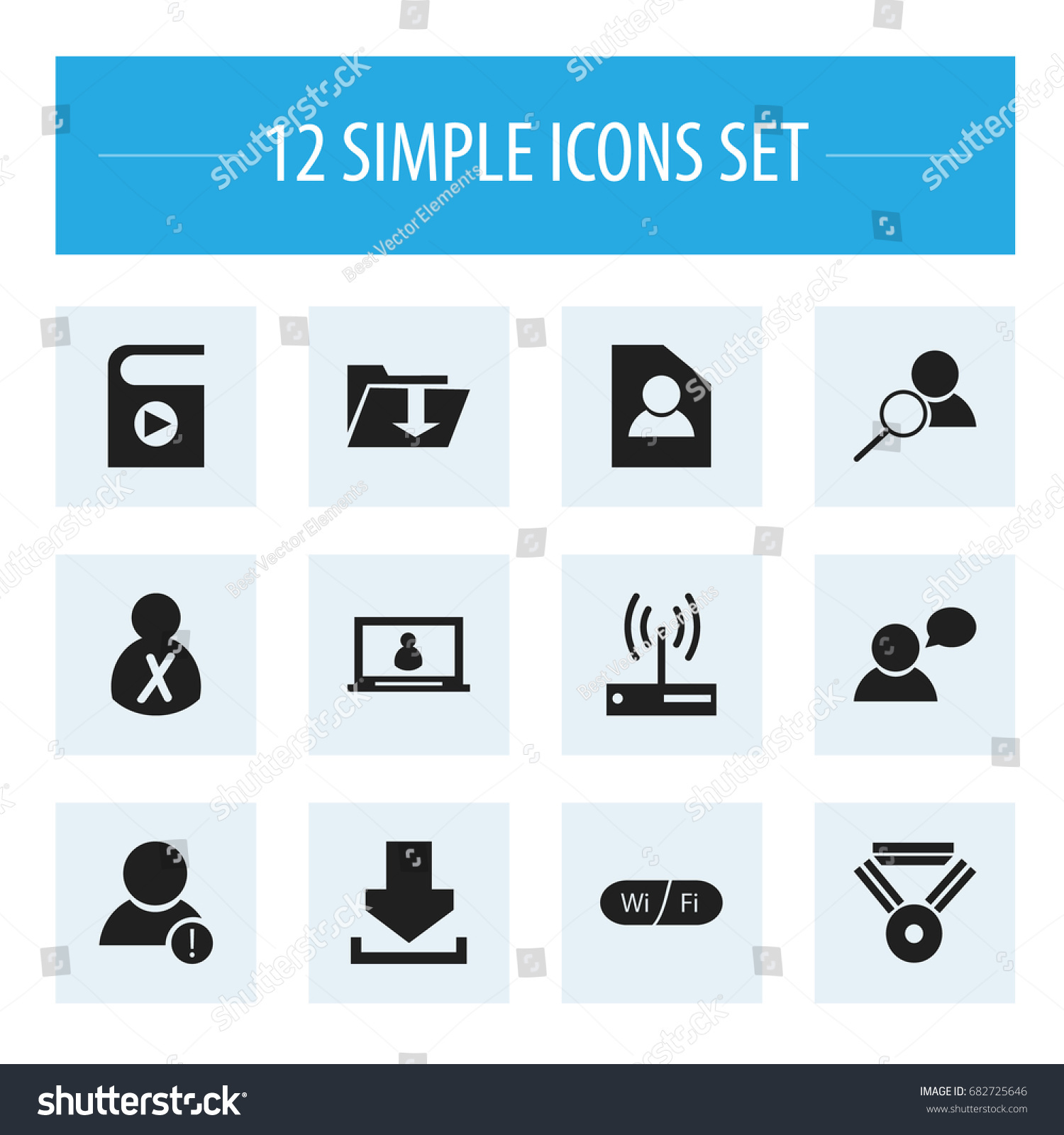 Set 12 editable internet icons includes stock vector 682725646 set of 12 editable internet icons includes symbols such as error account magnifier biocorpaavc