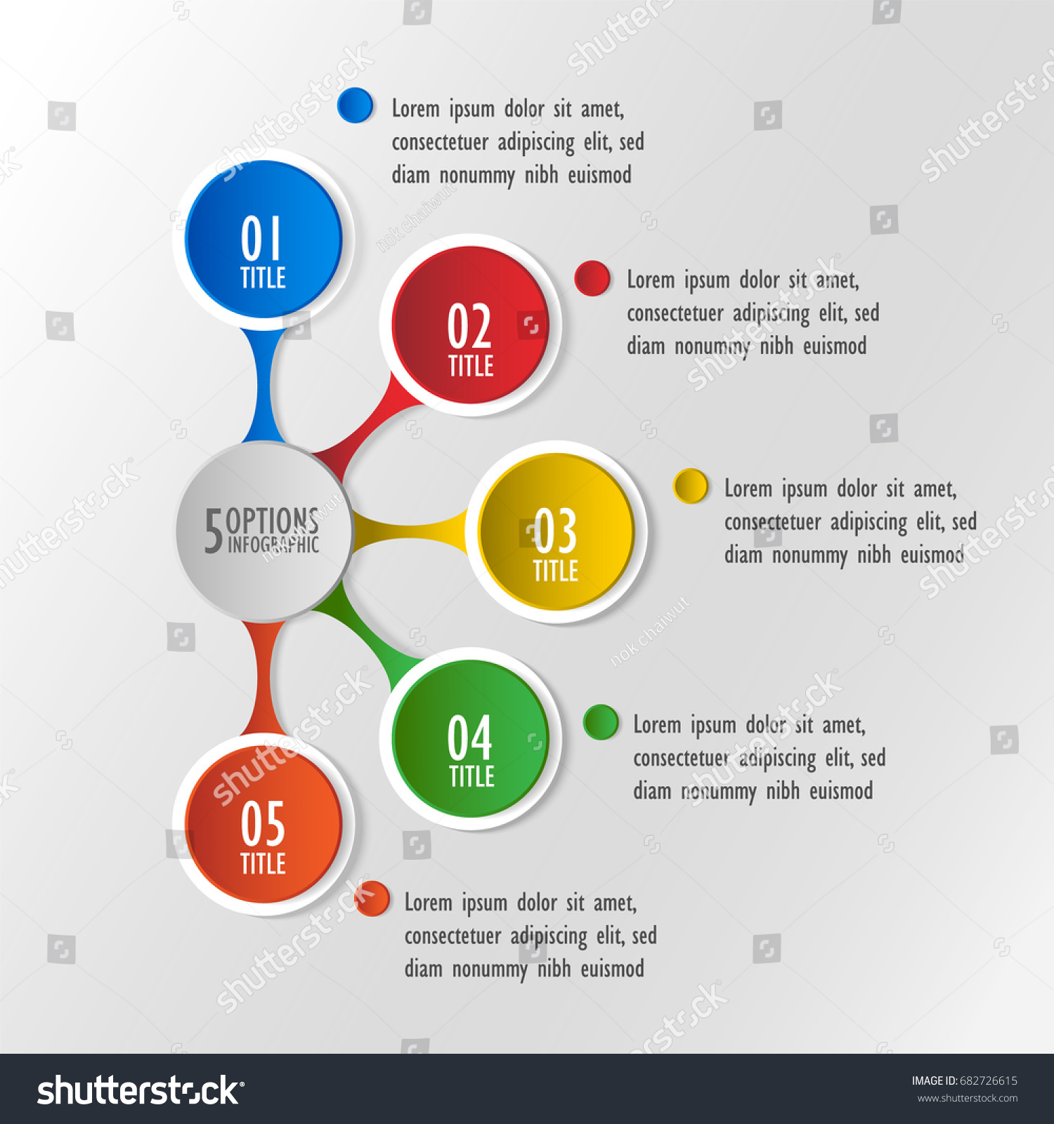 3d infographic template five options business stock vector 682726615 3d infographic template five options business circle diagram ccuart Gallery