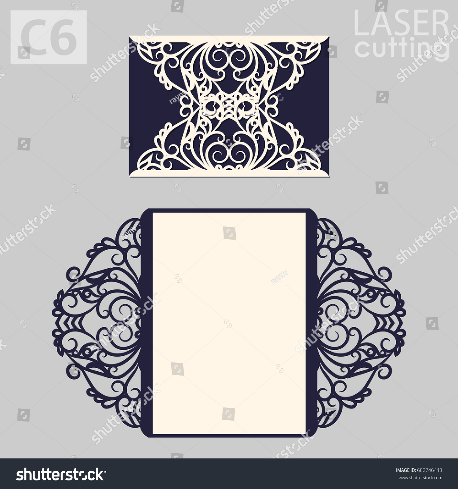 Laser Cut Wedding Invitation Card Template Stock Vector 682746448 ...