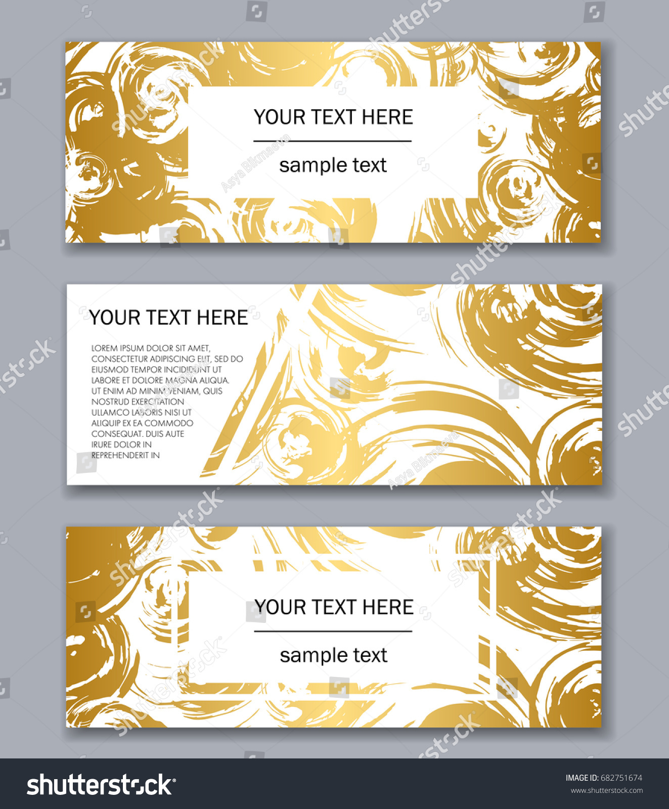 Set White Black Gold Banners Templates Stock Vector Royalty Free