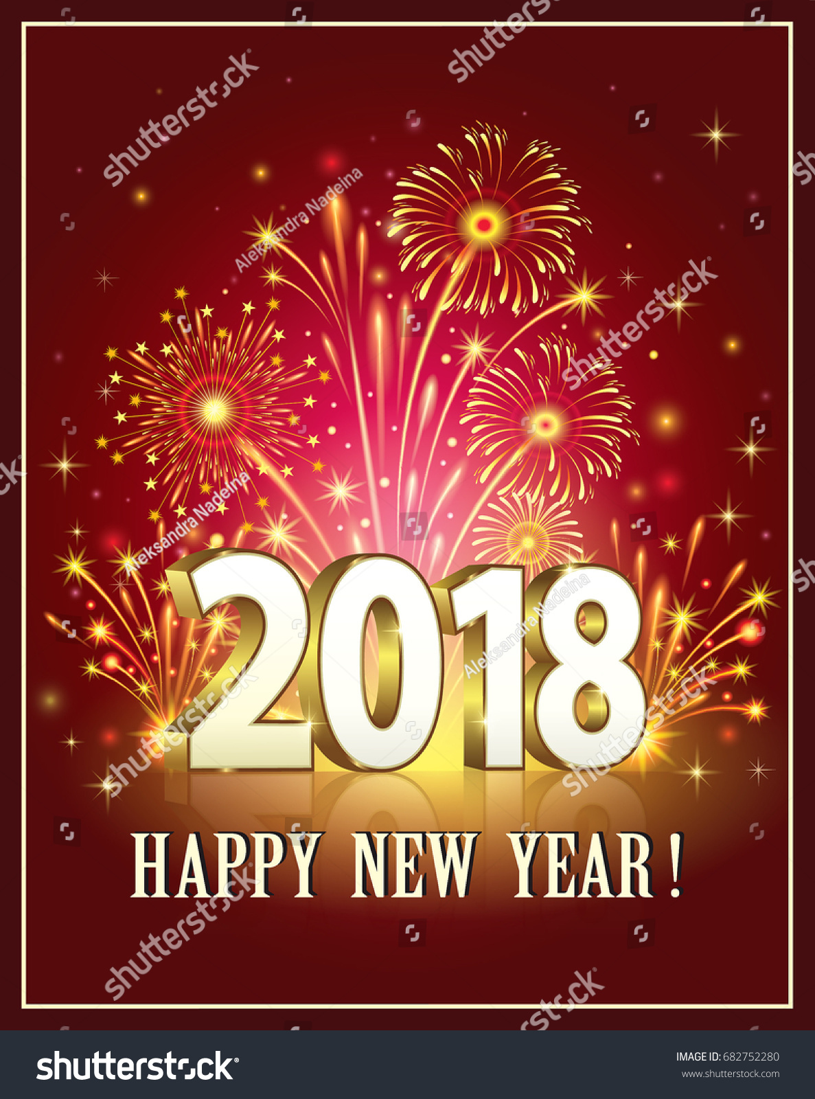 postcard happy new year 2018 on a background of fireworksvector illustration
