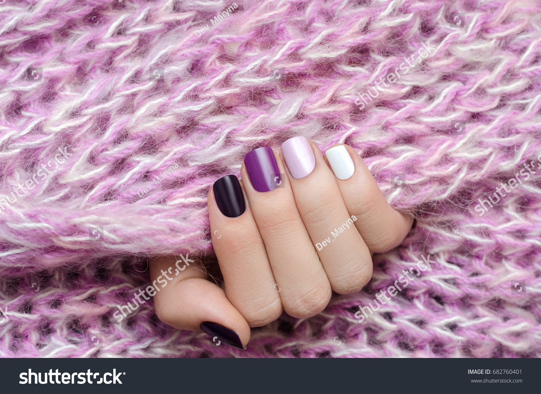 Purple Nail Design Beautiful Female Hand Stock Photo (Royalty Free ...