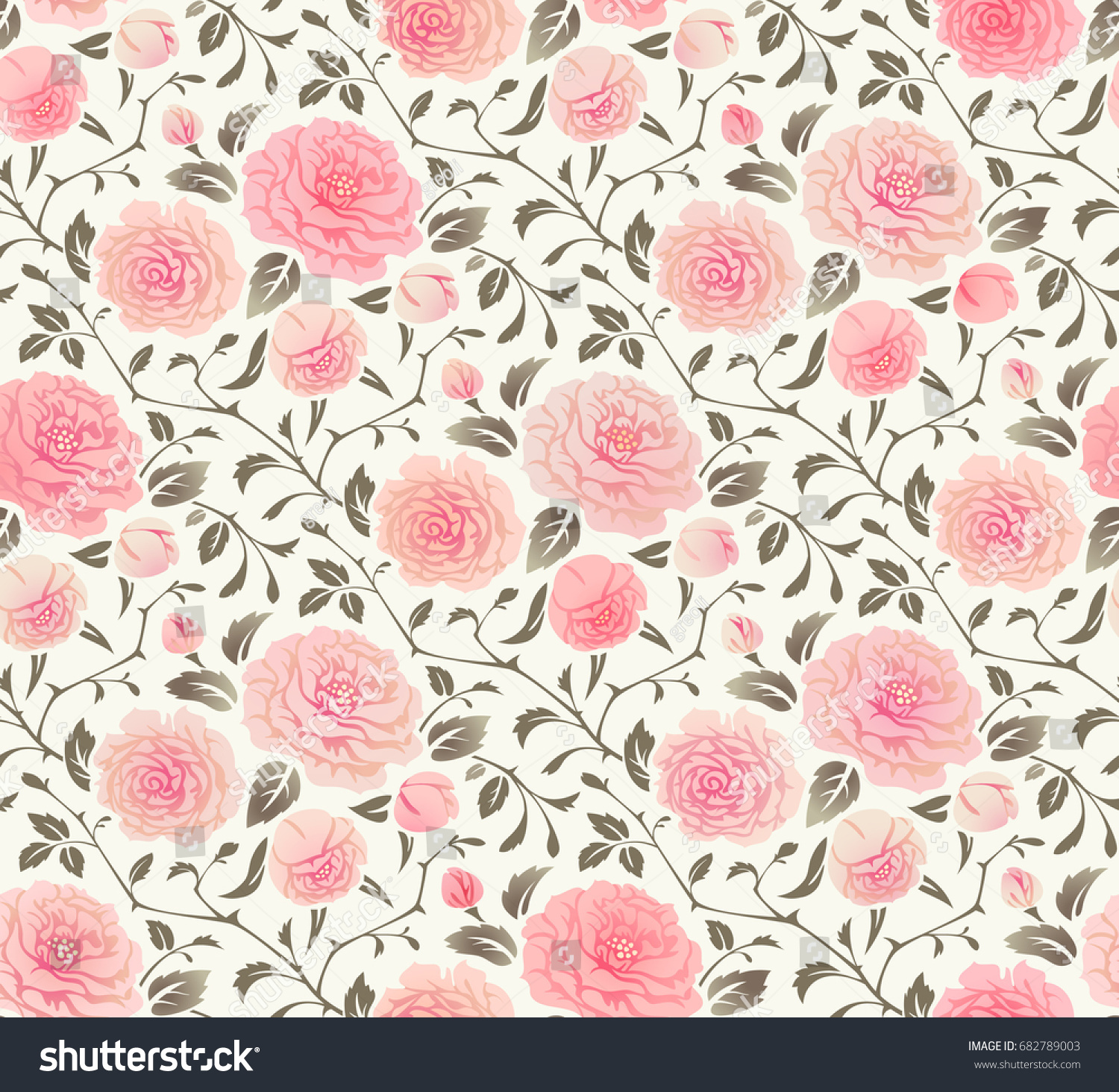 Floral Background With Roses Seamless Pattern For Wallpaper Fabric Digital Paper Fills