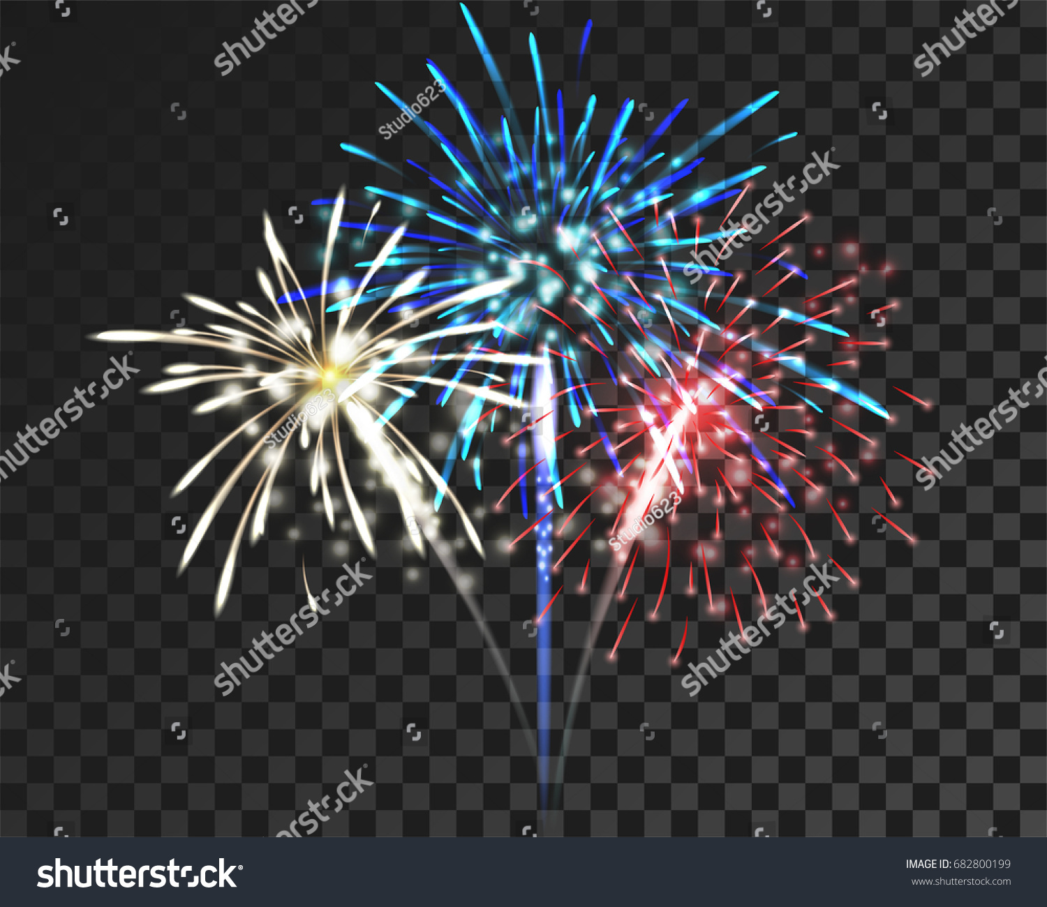 Isolate Colorful Firework Bursting In Vector Il Ration Concept For Salute Firework Template To Cele Te In