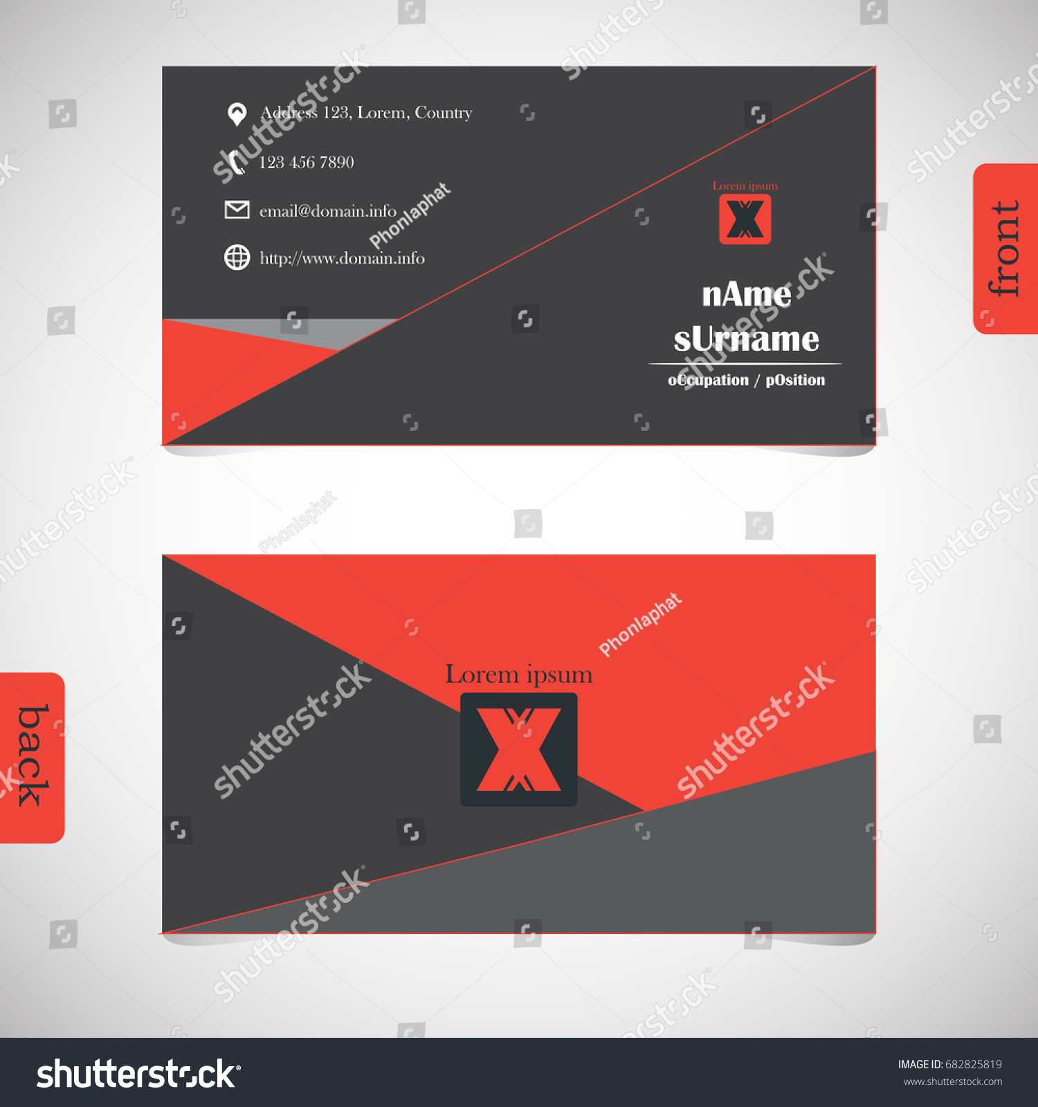 Vector design modern creative business card stock vector 682825819 vector design modern creative business card template show front and back of card concept magicingreecefo Images
