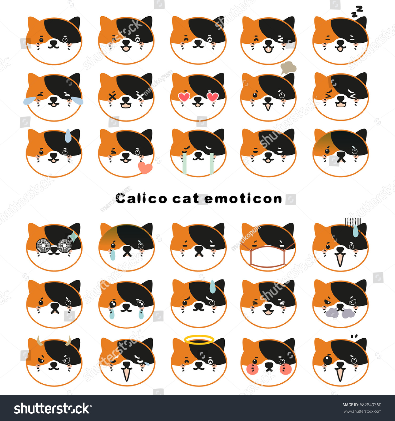 calico cat face emoticons black white stock vector