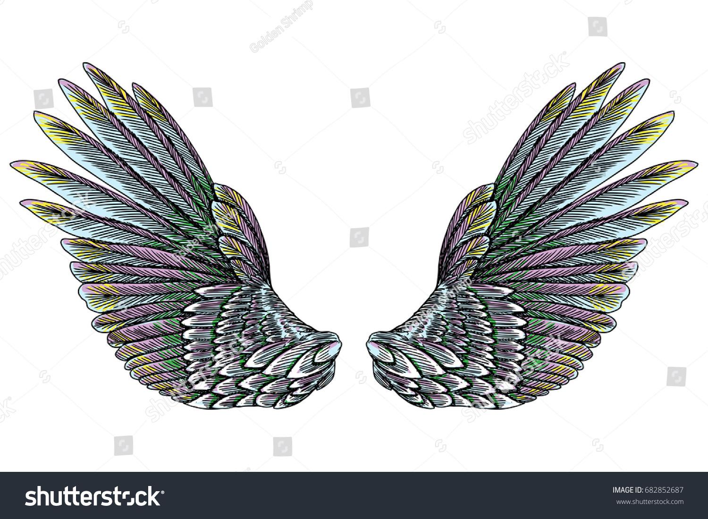 Sacred angel bird wings symbolism lightness stock vector 682852687 sacred angel or bird wings symbolism of lightness spirituality heaven and imagination buycottarizona