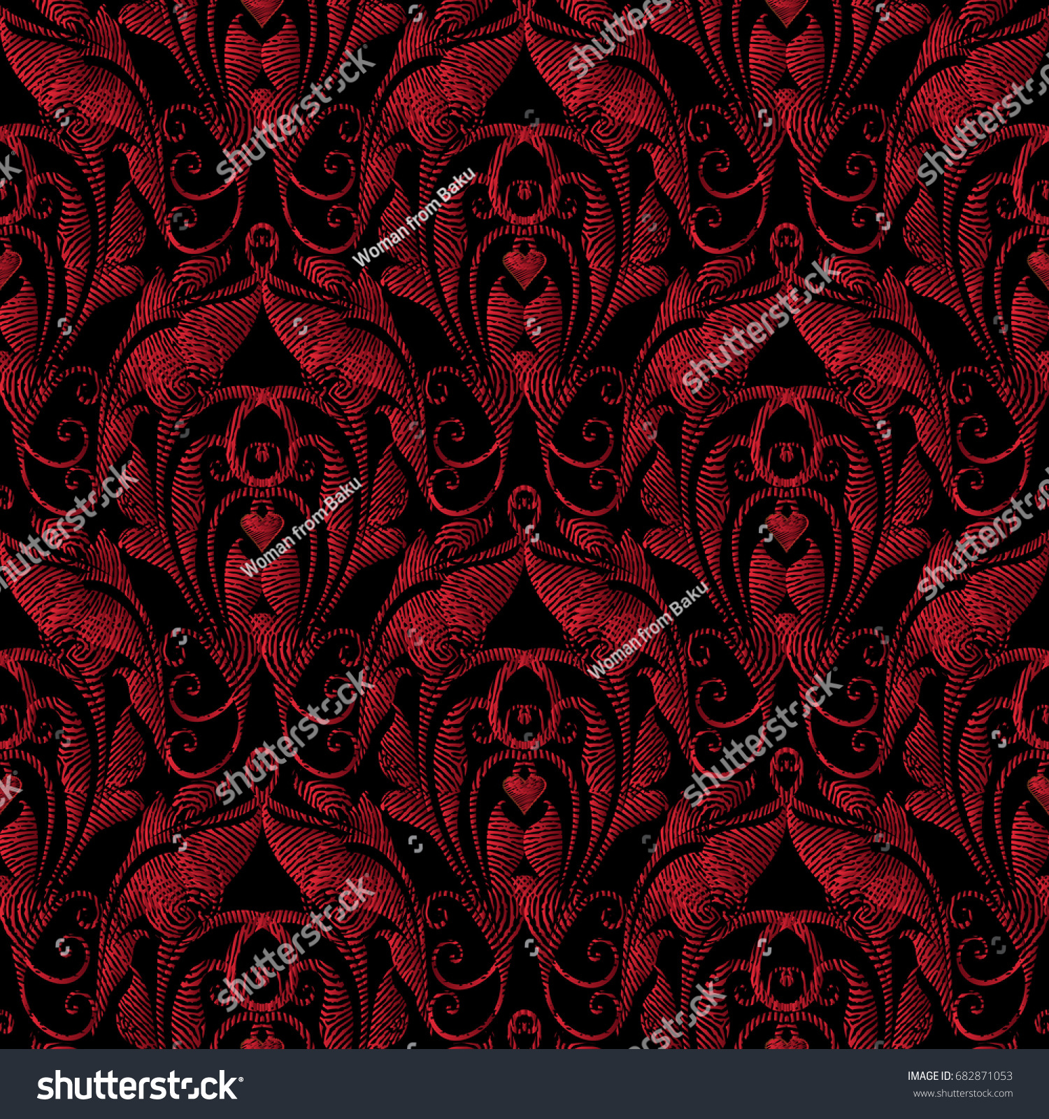 Tapestry Seamless Pattern Floral Black Background 682871053