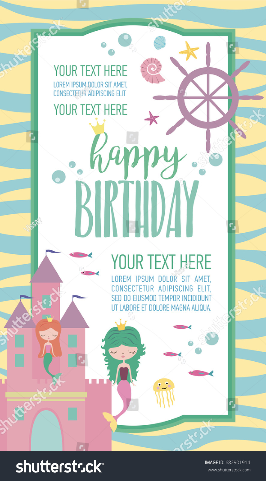 Happy birthday invitation party greeting card stock vector 2018 happy birthday invitation for party or greeting card with mermaid and sea life vector illustration filmwisefo
