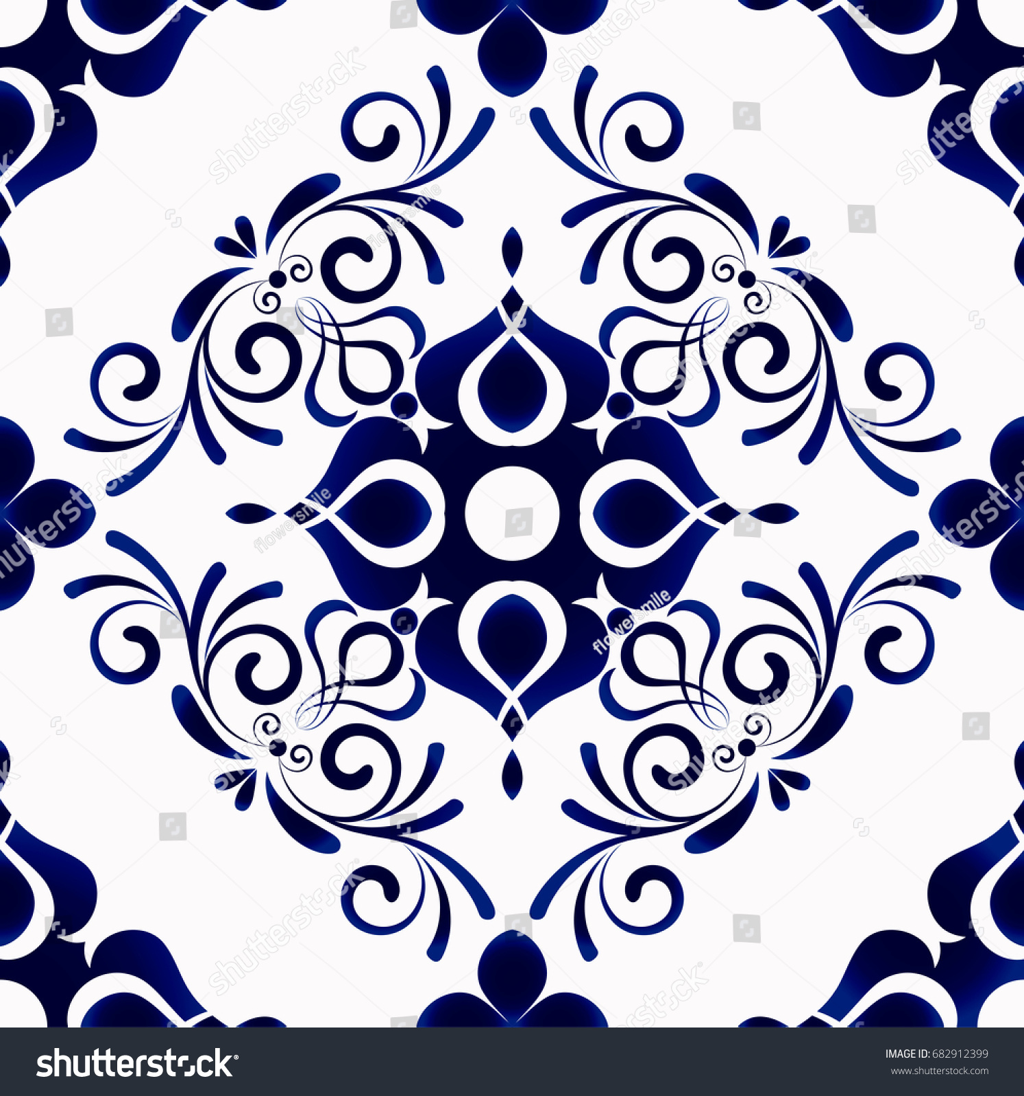 Seamless Porcelain Indigo Blue White Simple Stock Vector (Royalty ...