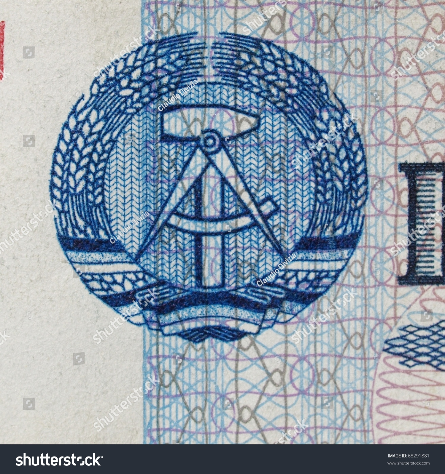 Ddr symbol on 100 mark banknote stock photo 68291881 shutterstock ddr symbol on a 100 mark banknote from east germany note no more in buycottarizona