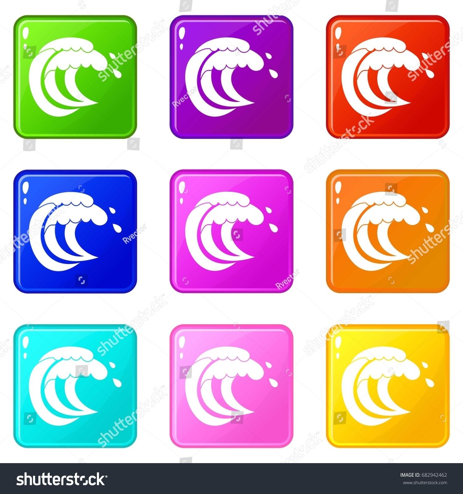 Wave sea tide icons 9 color stock vector 682942462 shutterstock wave of sea tide icons of 9 color set isolated vector illustration biocorpaavc