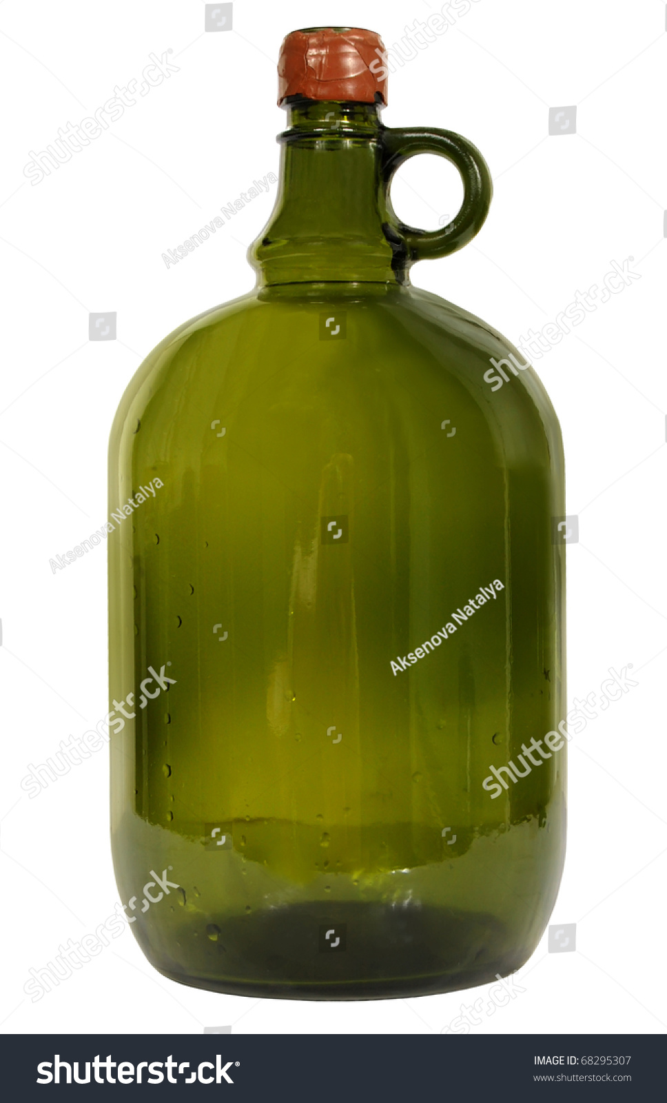 Big green glass wine bottle on stock photo 68295307 for Green glass wine bottles