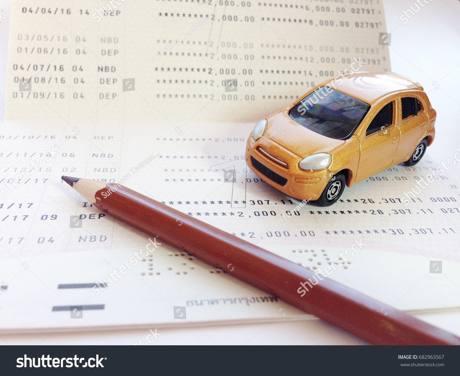 Business Finance Savings Banking Or Car Loan Concept Miniature Car Model