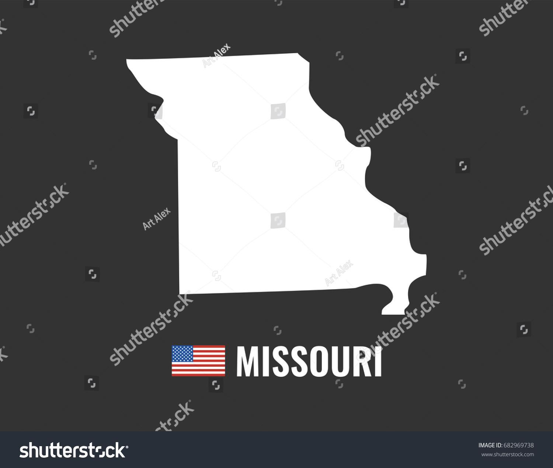 Missouri Map Isolated On Black Background Stock Vector - Missouri map usa